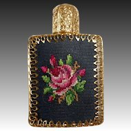 Mini Glass Perfume Bottle Needlepoint Front Metal Trim Glass Dabber