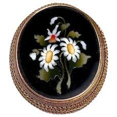 14k Victorian Italian Large Pietra Dura Floral Mosaic Pin