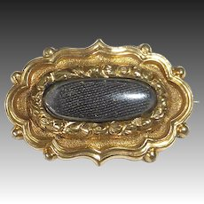 Antique Gold Filled Georgian Hair Mourning 'Lace' Pin