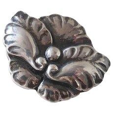 Georg Jensen Repousse Sterling Floral Leaf Design Pin #107
