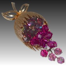 Gold Tone Grapes Pin Faceted Glass Beads