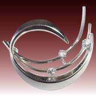 K&L 835 Silver Modernist Abstract Brooch