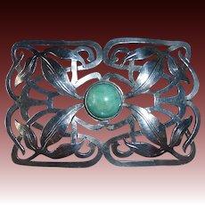 Arts & Crafts Sterling Sash Ornament Brooch w Amazonite