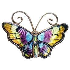 David Andersen Norway Sterling Enamel Butterfly Pin