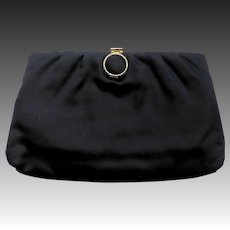 1950s Black Satin Evening Clutch or Handle Purse