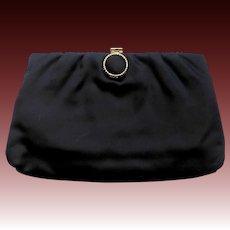 1950s Black Satin Evening Clutch or Handle Purse