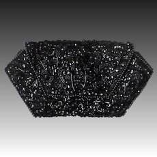 Black Sequin & Bead La Regale Evening Clutch Purse
