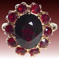 Victorian Revival 14k Garnet Oval Rosette Ring