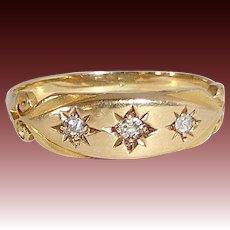 18K Edwardian Ring Engraved Stars w Diamonds