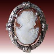 Italian 800 Silver Shell Cameo Ring