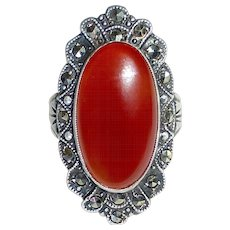 Uncas Sterling Art Deco Carnelian & Marcasite Ring