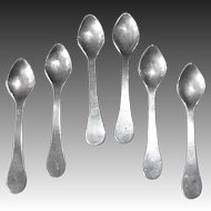 Set of 6 Sterling Salt Spoons on Original Card