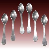 Set of 6 Sterling Salt Spoons on Original Card