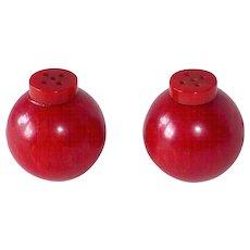 Cherry Red EOD Bakelite Round Salt & Pepper Shakers