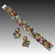 Chunky Gold Tone Rhinestone Bracelet & Earrings Set