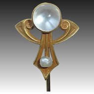 14k Art Nouveau Moonstone Stickpin Alling & Company