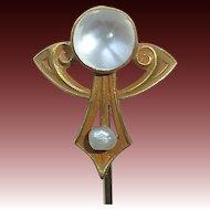 14k Art Nouveau Moonstone Stickpin Alling & Company