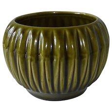 McCoy Pottery Olive Green Fluted Round Vase