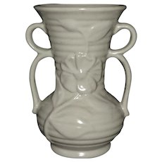 Shawnee Creamy White Double Handle Ribbed Flower Vase