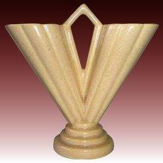 Art Deco Double Flower V Form Peach Glaze Vase