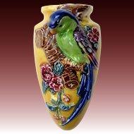 Porcelain Figural Parrot & Flowers Bird Wall Pocket