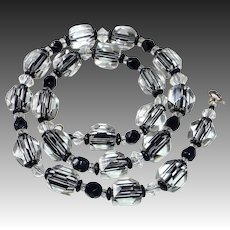 Art Deco Clear Crystal & Black Beaded Necklace