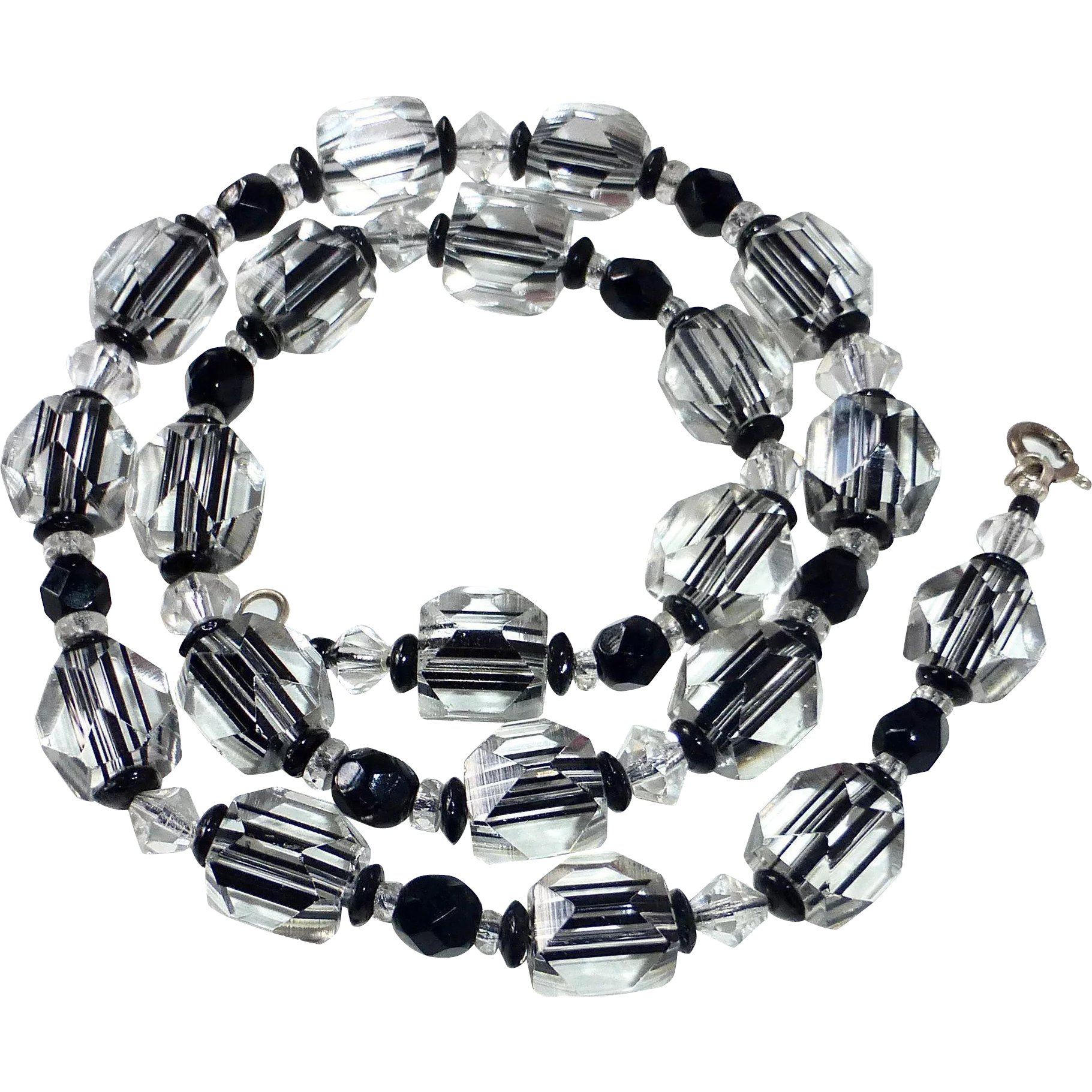 ART DECO BLACK  and clear bead   glass necklace