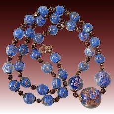 Murano Art Glass Bead Necklace Blue & Gold Stone Swirl