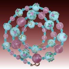 Venetian Pink & Blue Bead Necklace w Applied Designs