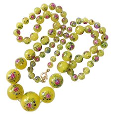 Venetian Lemon Yellow Art Glass Beads w Roses