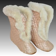 Quilted Silk Satin Booties Trimmed in Fur for Doll or Baby