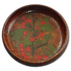 Flemish Folk Art Pyrography Bowl Cherry Design 1905