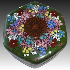 19th C Chinese Cloisonne Hexagonal Lidded Trinket Box