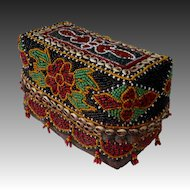 Indonesian Rattan Dowry Box Beaded & Embellished