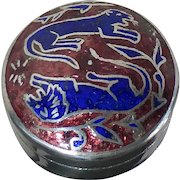 Round Sterling Pill Box Enamel Lion & Lioness Top