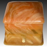 Art Deco Orange Marble Celluloid & Velvet Ring Hinged Presentation Box