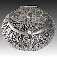 Sterling Filigree Round Hinged Box
