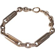 14k Rose Gold Heavy Decorative Link Victorian Watch Chain Bracelet