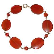 14k Carnelian Lozenge & Round Bead Bracelet