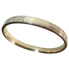 14k Gold Filled Engraved Hinged Bangle Bracelet