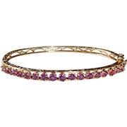 14k Yellow Gold Ruby Hinged Bangle Bracelet