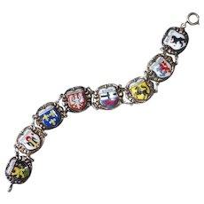 Sterling & Enamel German City Shields Souvenir Bracelet