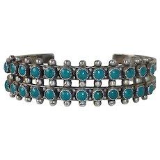 Native American Zuni Pawn Sterling Petit Point Turquoise Cuff Bracelet