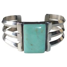 Navajo Sterling Turquoise Cuff Bracelet by Harry Spencer