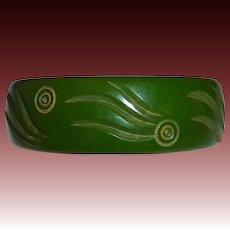 Carved Forest Green Bakelite Bangle Bracelet