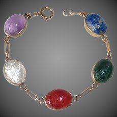 Egyptian Revival Gold Filled Stone Scarab Bracelet