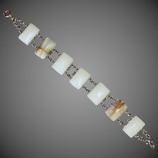 Gold Filled Wire & Carved Soapstone Bracelet c1930s