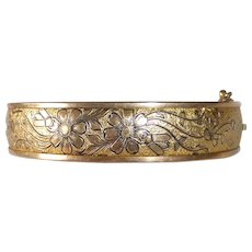 Victorian Revival Gold Filled Engraved Floral Hinged Bracelet