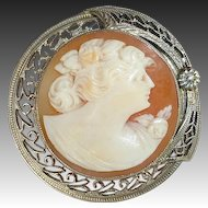 14k Art Deco Round Shell Cameo Filigree Frame
