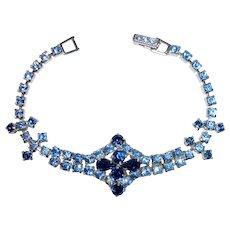 Ornate Rhinestone Bracelet is Shades of Blue